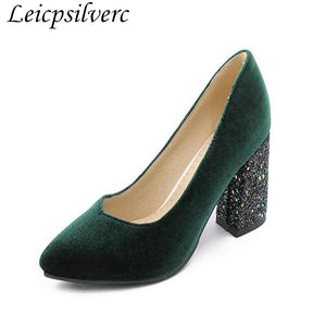 Fashion Sequins Suede High Heel Shoes