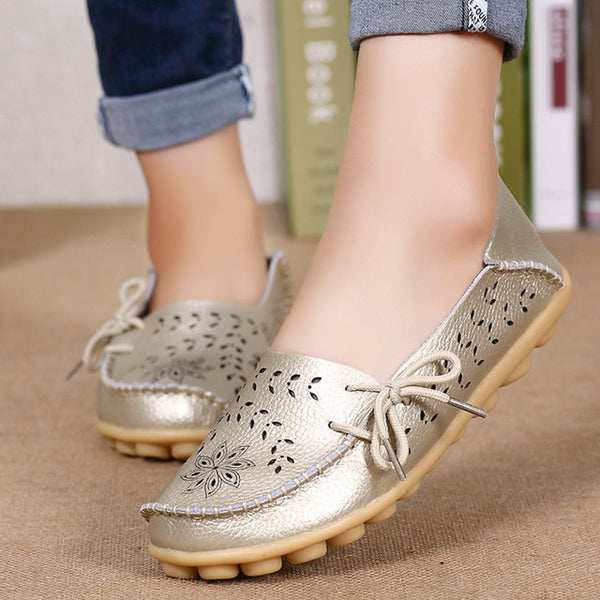 Genuine Leather Slip On Loafers Ballerina Style