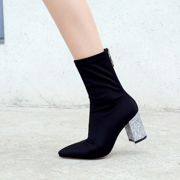 Bling Fashion Zipper Pointed Toe Square Heel Ankle Boots