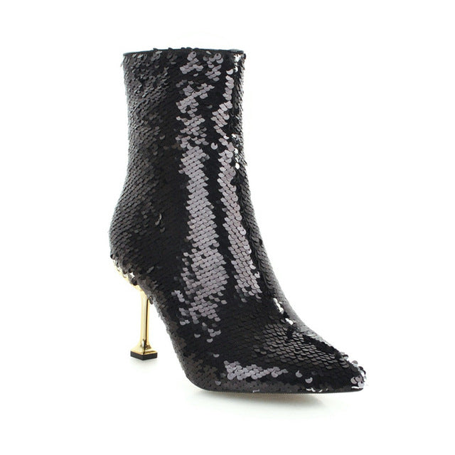 Hot Bling Fashion Thin High Heel Ankle Boots