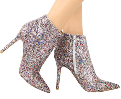 Bling Sequined Zipper Pointed Toe High Heeled Ankle Boots