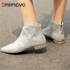 Fashion Pointed Toe Elegant Low Heel Ankle Boots
