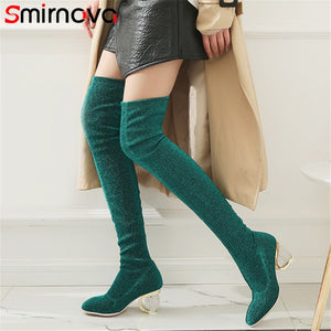 Fashion Hot Square Toe Over The Knee Elastic Boots