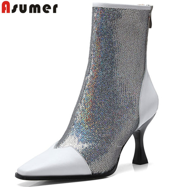 New Fashion Bling Pointed Toe High Heel Ankle Boots
