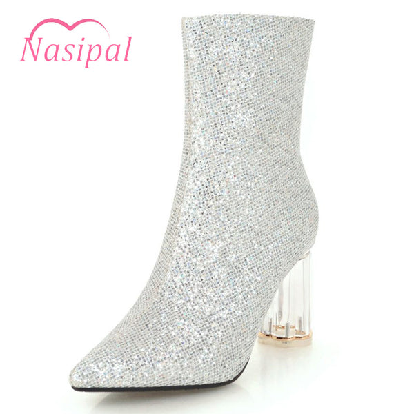 Elegant Bling Sequined Transparent High Heel Pointed Toe Ankle Boots