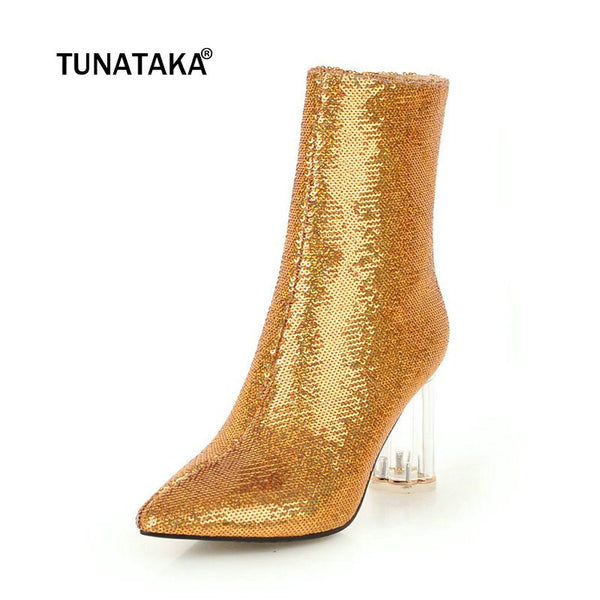 Elegant Fashion Sequined Pointed Toe High Heel Ankle Boots