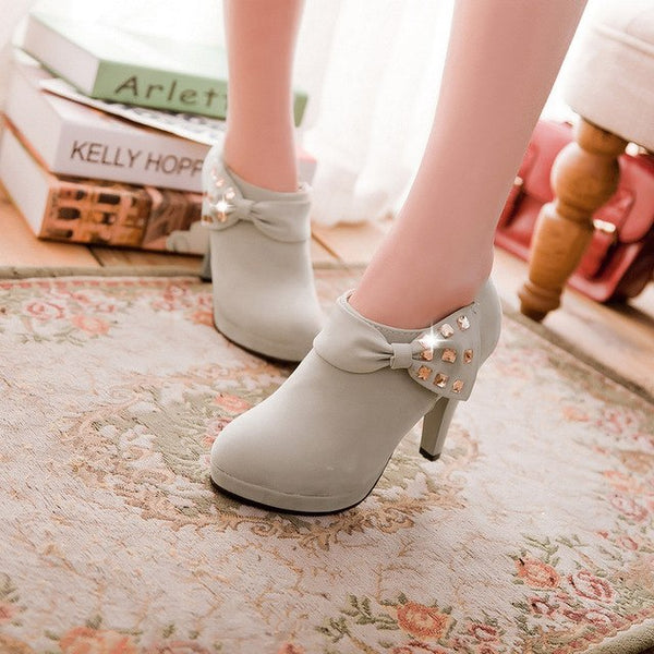 Fashion Bling Platform Thin Heel Low Boots