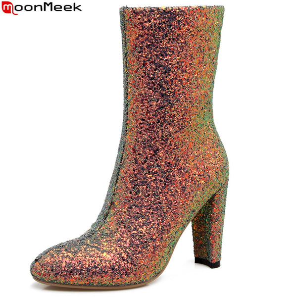 New Arrival Fashion Bling Round Toe Zipper Super High Ankle Boots
