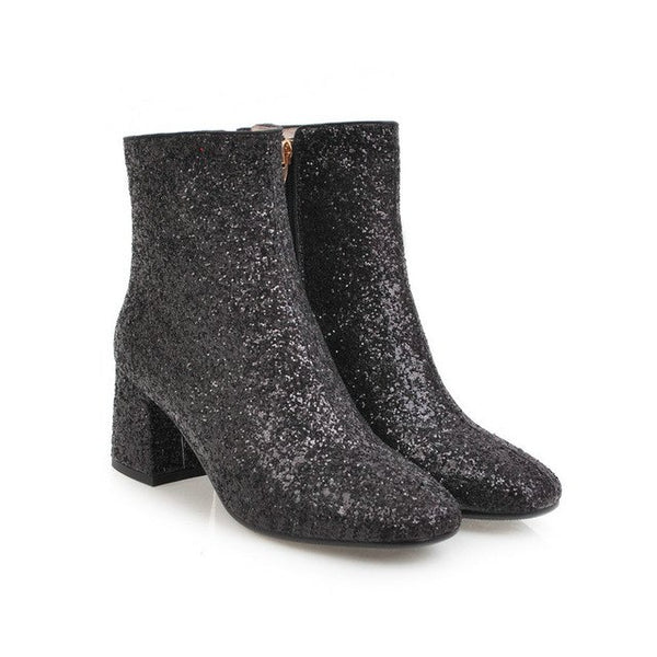 Fashion Elegant Sequined Bling Square Toe Angle Boots