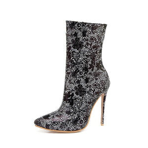 Hot Bling Sequined Zipper High Heel Pointed Ankle Boots