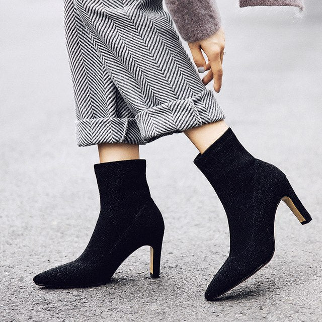 Hot Sequined Pointed Toe Square Heel Ankle Boots