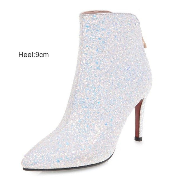 Elegant Bling Sequined Zipper Pointed Toe Thin High Heel Ankle Boots