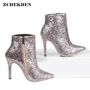 Hot Bling Sequined Zipper Pointed Toe High Heeled Ankle Boots