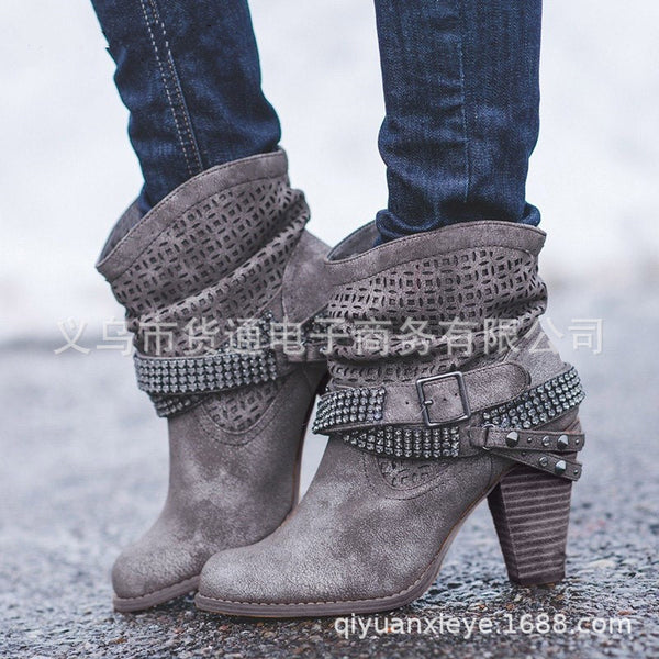 Fashion Bling Ankle Square Toe Boots