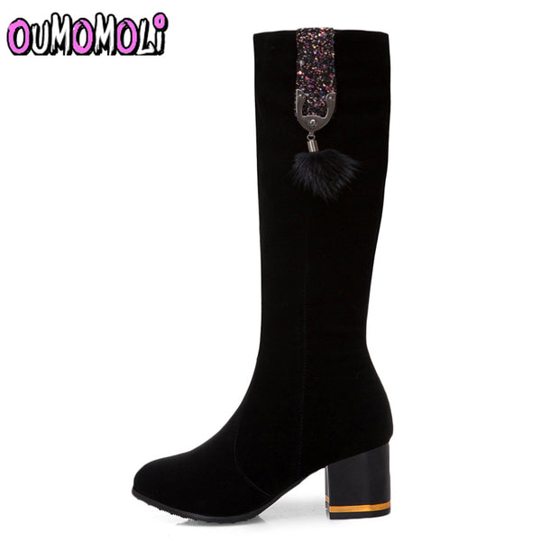Fashion Bling Mid Calf Square Heel Boots