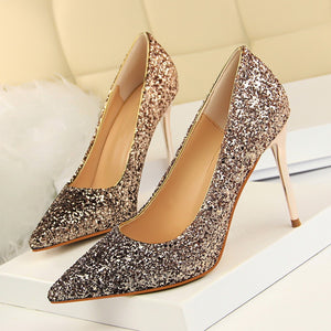 Fashion High Heels Pointed Toe Party Sequins Cloth