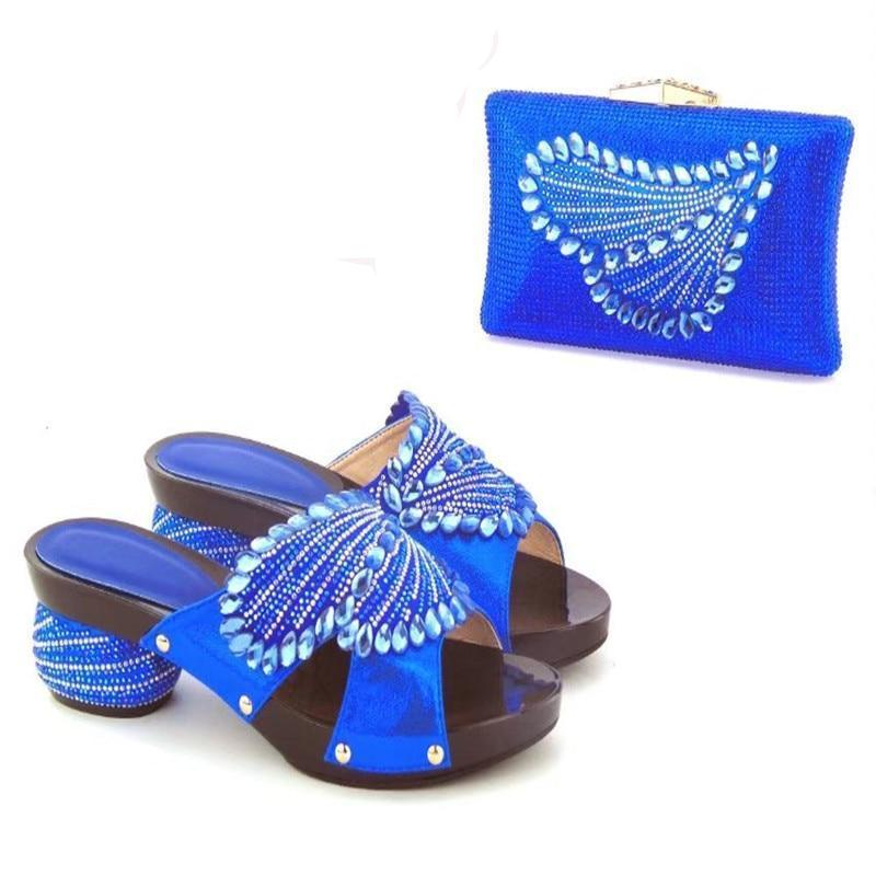 Royal Blue Bling Party Shoes with Matching Bag