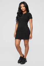 Back Swing Polo Dress - Black