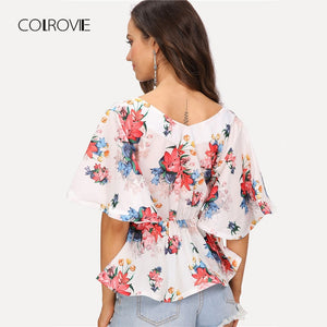 COLROVIE Flutter Sleeve Belted V Neck Floral Blouse Shirt 2018 New Summer Short Sleeve Women Blouse Beach Sexy Top Clothing