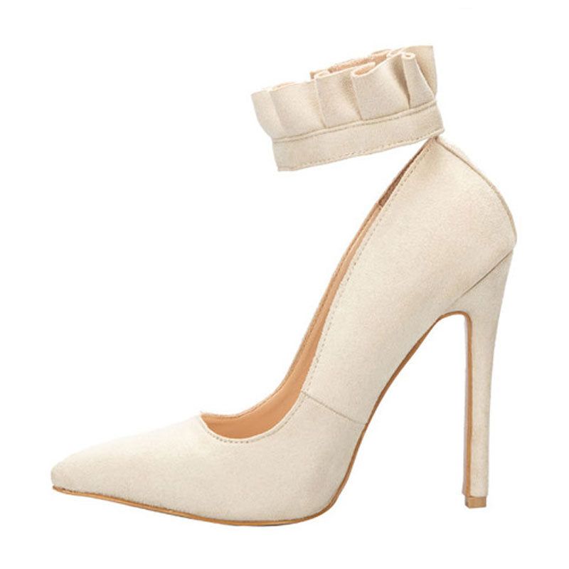 LALA IKAI Women Pumps Sexy Buckle Strap Ruffles High Heels Party Shoes Pointed Toe Spring Ladies Wedding Shoes XWC1867-5