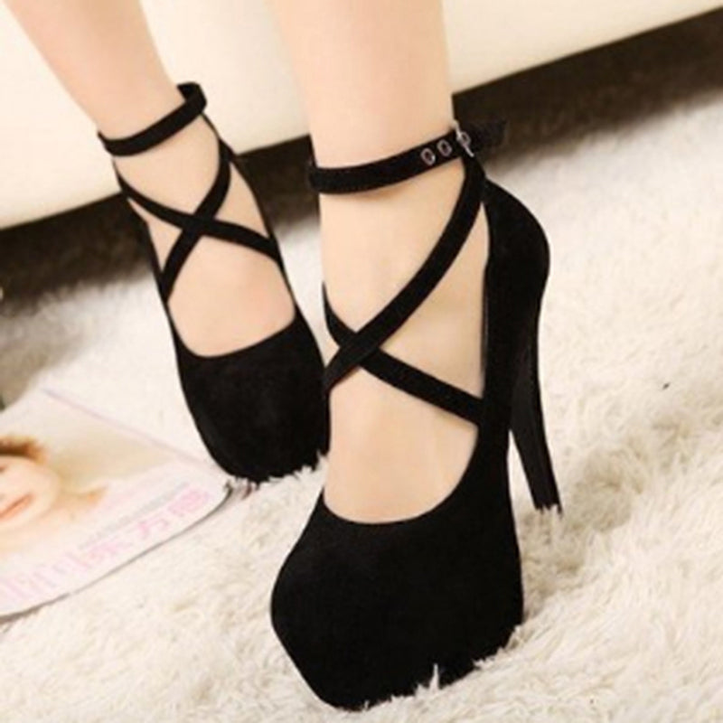 Size 34-42 Super High Thin Heels Shoes Spring Autumn Pumps T-strap Buckle Strap Retro Round Toe Pumps Wedding Shoes Women 911866