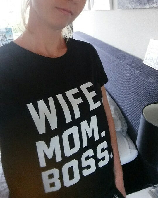 WIFE MOM BOSS Letters Print Women tshirt Cotton Casual Funny t shirt For Lady Girl Top Tee Hipster Drop Ship S-1