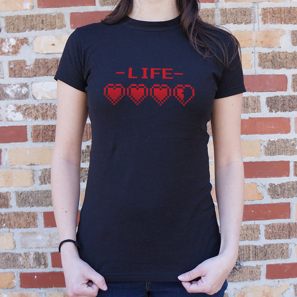 8-Bit Life Hearts T-Shirt (Ladies)