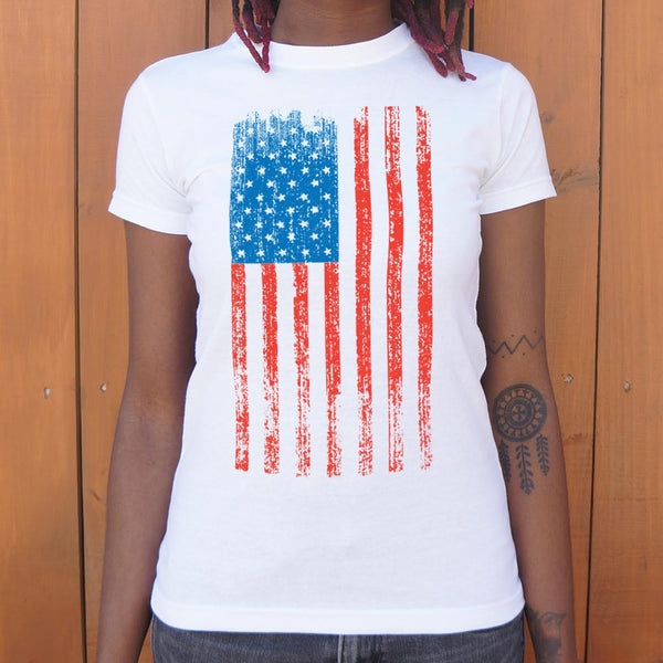 Distressed American Flag T-Shirt (Ladies) Ladies T-Shirt - Macronova Games