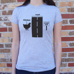 Chicken Crossing T-Shirt (Ladies) Ladies T-Shirt - Macronova Games