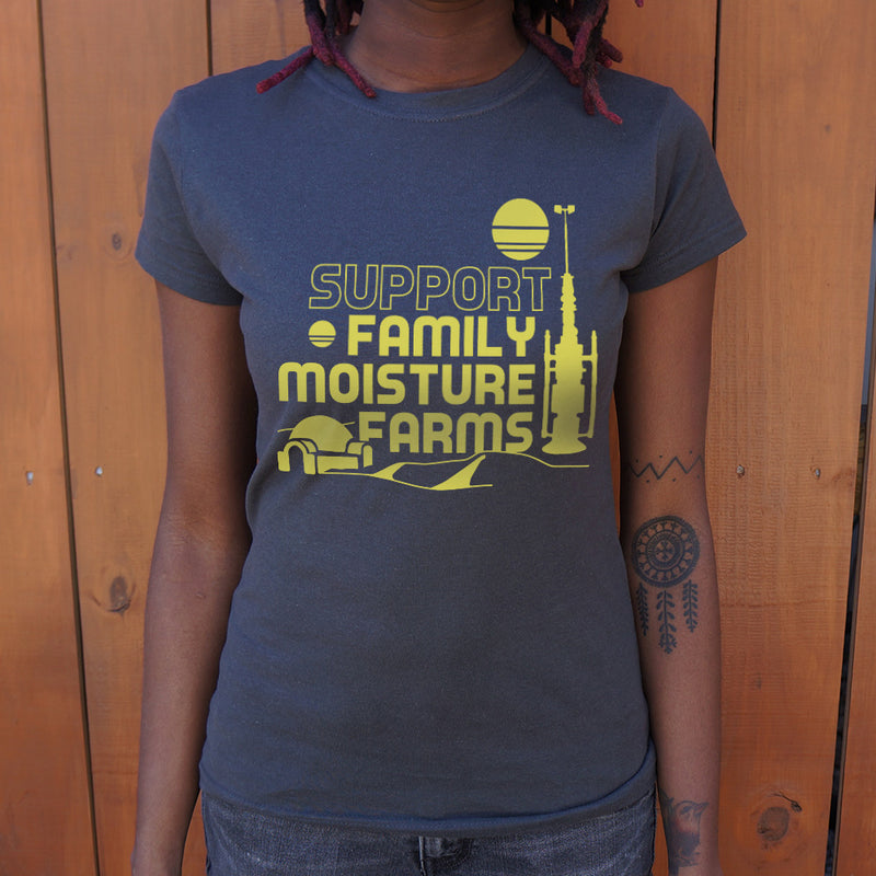Support Family Moisture Farms T-Shirt (Ladies) Ladies T-Shirt - Macronova Games