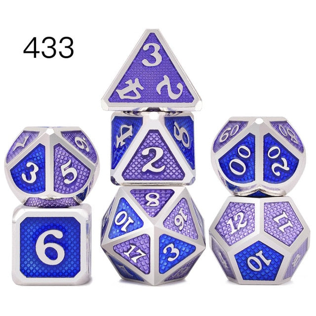 Multiple Styles of 7pcs Metal Dice Set with Pouch Accessory - Macronova Games