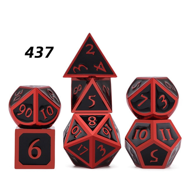 7pcs Metal Polyhedral Dice set with Black Velvet Pouch Accessory - Macronova Games
