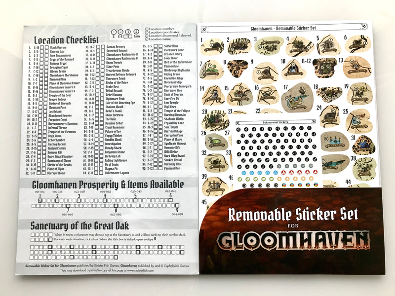 Gloomhaven Removable Sticker Set Accessory - Macronova Games