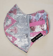 ADULT VGC FACE-MASK CHEVRON SEQUENCE SILVER WHITE PINK