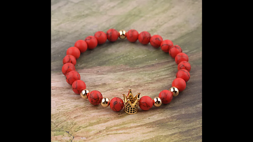 GOLD CROWN KINGS RED BEAD BRACELET