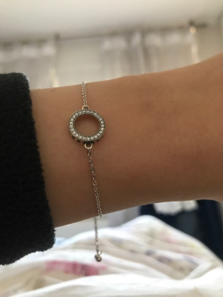 925 Sterling Silver Round Circle Bracelet