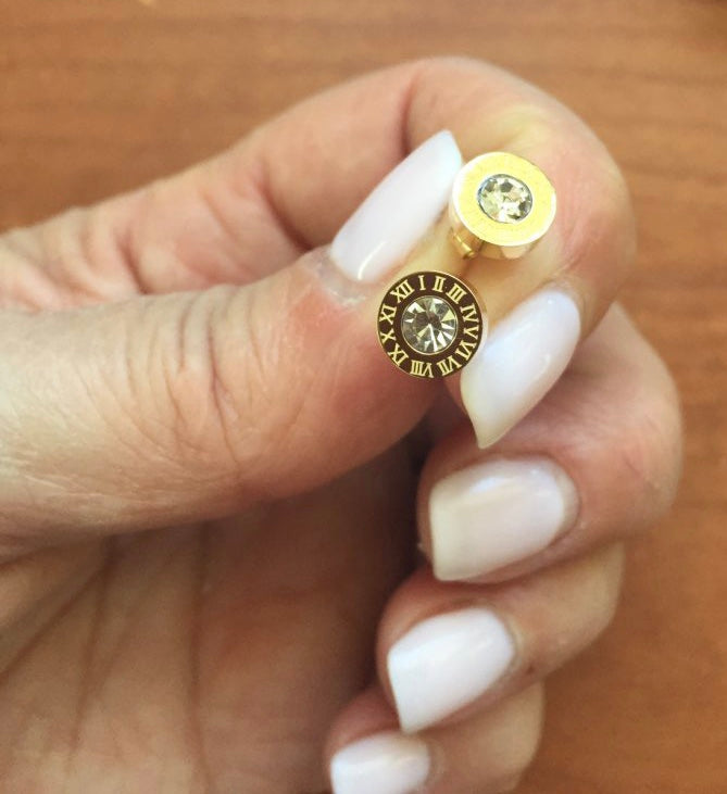 Gold Roman Numeral Studs