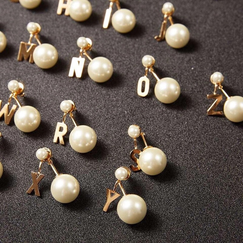 Big Pearl Letter Earrings