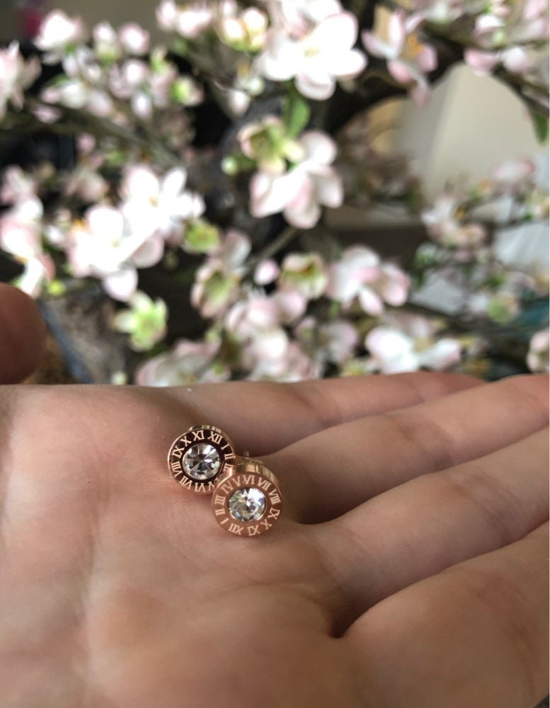 Rose Gold Numerals Studs