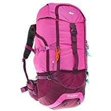 Quechua Forclaz Backpacking Packs Rucksack Hiking Daypacks Camping Outdoor Water Repellent Forclaz 50L (Pink)