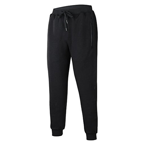 Beroy Men'S Basic Active Training Running Gym Jogger Pants Zipper Pockets Sweatpants, Large, Black