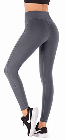 Iuga Yoga Pants With Pockets Workout Leggings For Women 4 Way Stretch Yoga Leggings With Pockets (Grey 7850, Large)