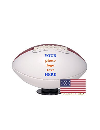 Custom Personalized Football - Full Size - Ships In 3 Business Days, High Resolution Photos, Logos &Amp; Text On Football Balls - For Players, Trophies, Mvp Awards, Coaches