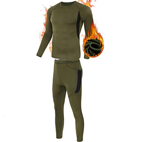 Mens Thermal Underwear Set, Esdy Sport Long Johns Base Layer For Male, Winter Gear Compression Suits For Skiing Running Green