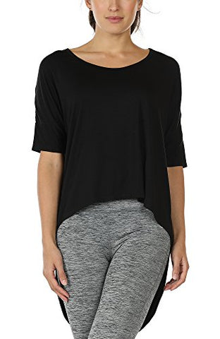 Icyzone Yoga Tops For Women - Open Back Workout Top Moisture Wicking Running Shirts Casual Loose Blouses Long Back T-Shirts (M, Black)