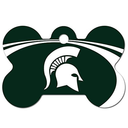 Dogids Personalized Laser Engraved 1.5 X 1 Inch Michigan State Spartans Bone Shaped Pet Id Tag - Free Tag Silencer