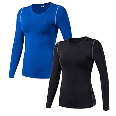 Wanayou Women'S Compression Shirt Dry Fit Long Sleeve Running Athletic T-Shirt Workout Tops,2 Pack(Black/Blue),L
