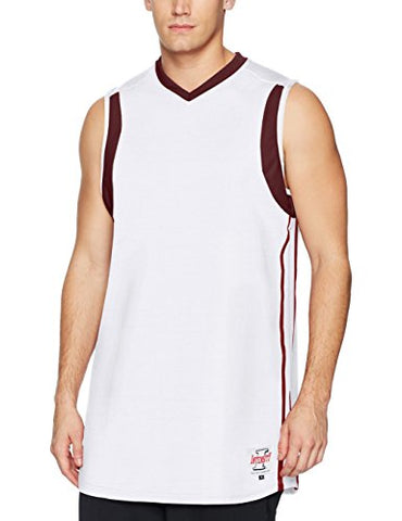 Intensity Men'S Low Post Fitted Basketball Jersey, White/Maroon, Medium