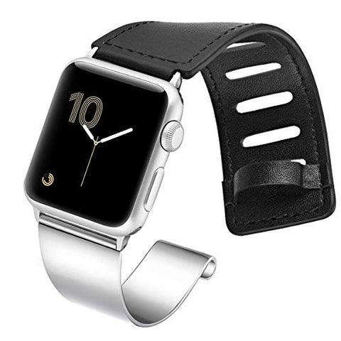 Fastgo Compatible For Apple Watch Bands 38Mm 40Mm 42Mm 44Mm, Dressy Stainless Steel Leather Cuff Strap Compatible For Iwatch Bracelet Series 4 3 2 1 Women Men Adjustable (Silver Slider, 42/44Mm)