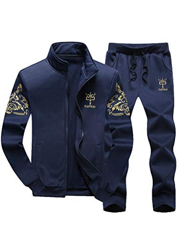 Pasok Men'S Casual Tracksuit Full Zip Running Jogging Athletic Sports Jacket And Pants Set M Blue